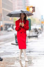 Emily Ratajkowski in a Red Trench Coat - NYC 10/29/2020
