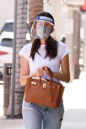 Emmy Rossum Wearing a Mask and a Face Shield - Beverly Hills 10/02/2020