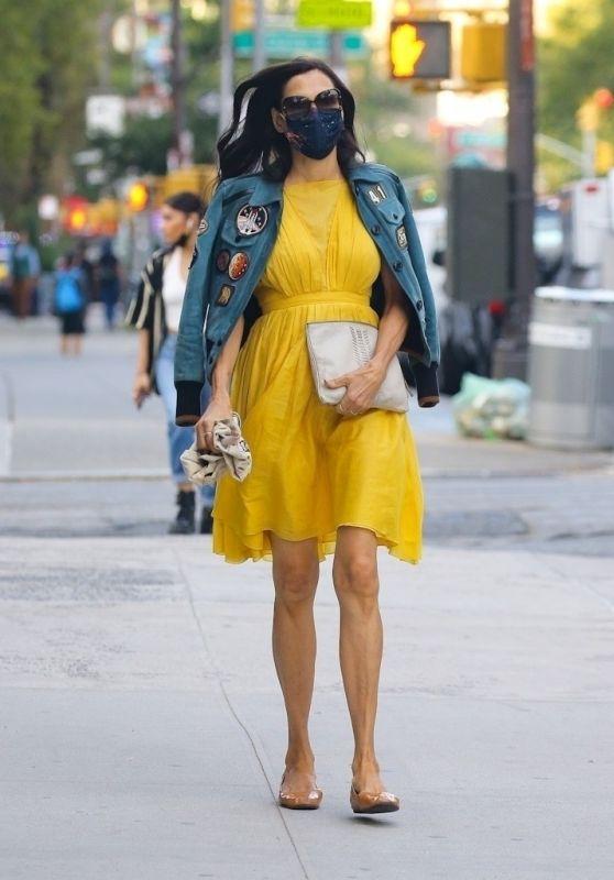 Famke Janssen in a Bright Yellow Dress and Denim Jacket - New York 10/01/2020