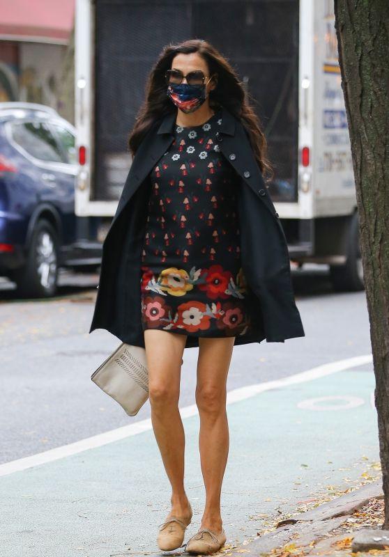 Famke Janssen in a Floral Mini Dress - New York 10/22/2020