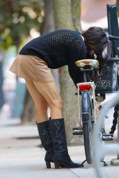 Famke Janssen - Pushing Her Bike in New York City 10/17/2020