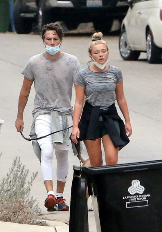 Florence Pugh - Walk With Her Boyfriend Zach Braff in LA 10/23/2020