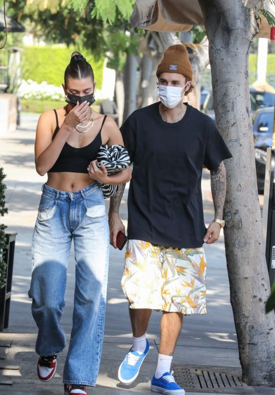 Hailey Bieber and Justin Bieber at IL Pastaio in Beverly Hill 10/06/2020