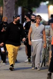 Hailey Bieber and Justin Bieber on the Set of a Music Video in LA 10/29/2020