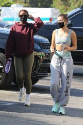 Hailey Bieber and Justine Skye - Heading to Yoga in West Hollywood 10/07/2020
