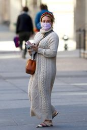 Hilary Duff in a Cable Knit Sweater Dress - NYC 10/17/2020