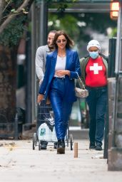 Irina Shayk in a Blue Leather Suit and Sheer White Top - NYC 10/23/2020