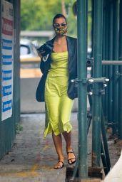 Irina Shayk in a Striking Lime Green Ensemble - New York 10/19/2020
