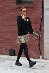 Irina Shayk in Burberry Boodie and Skirt - NYC 10/13/2020