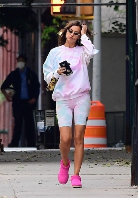 Irina Shayk in Tight Biker Shorts & Pink Slippers - NYC 10/15/2020