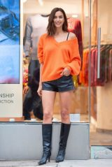 Irina Shayk in Tiny Leather Shorts and Knee High Boots - New York 10/22/2020