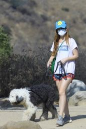 Isla Fisher Leggy in Shorts - Hiking With With Her Dog in LA 10/04/2020