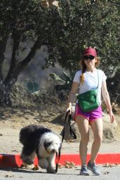 Isla Fisher Leggy in Shorts - Walking Her Dog in LA 09/30/2020