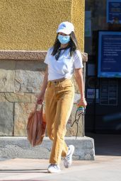 Jamie Chung in a Colored Jeans and a White T-Shirt - LA 10/28/2020