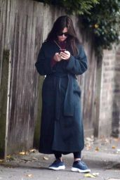 Jenna Coleman in a Blue Coat and Trainers - North London 10/24/2020