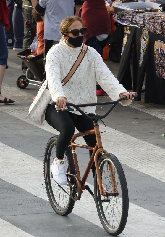 Jennifer Lopez - Bike Ride Along the Coast of Santa Monica Beach 10/24/2020