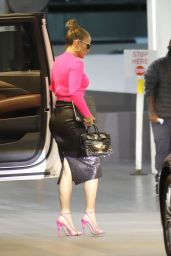 Jennifer Lopez in Clinging Leather Skirt and Pink Stilettos - Beverly Hills 10/28/2020