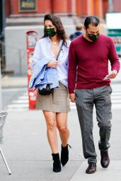 Katie Holmes in a Gray Plaid Skirt and Pale Blue Striped Shirt - NYC 10/22/2020