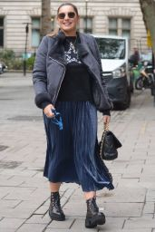 Kelly Brook Arriving in a Blue Metallic Dress, High Platform Ed Boots and a Star Jumper - London 10/15/2020