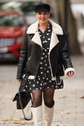 Kelly Brook in a Polka-Dot Mini Dress and Knee-High White Leather Boots - London 10/07/2020