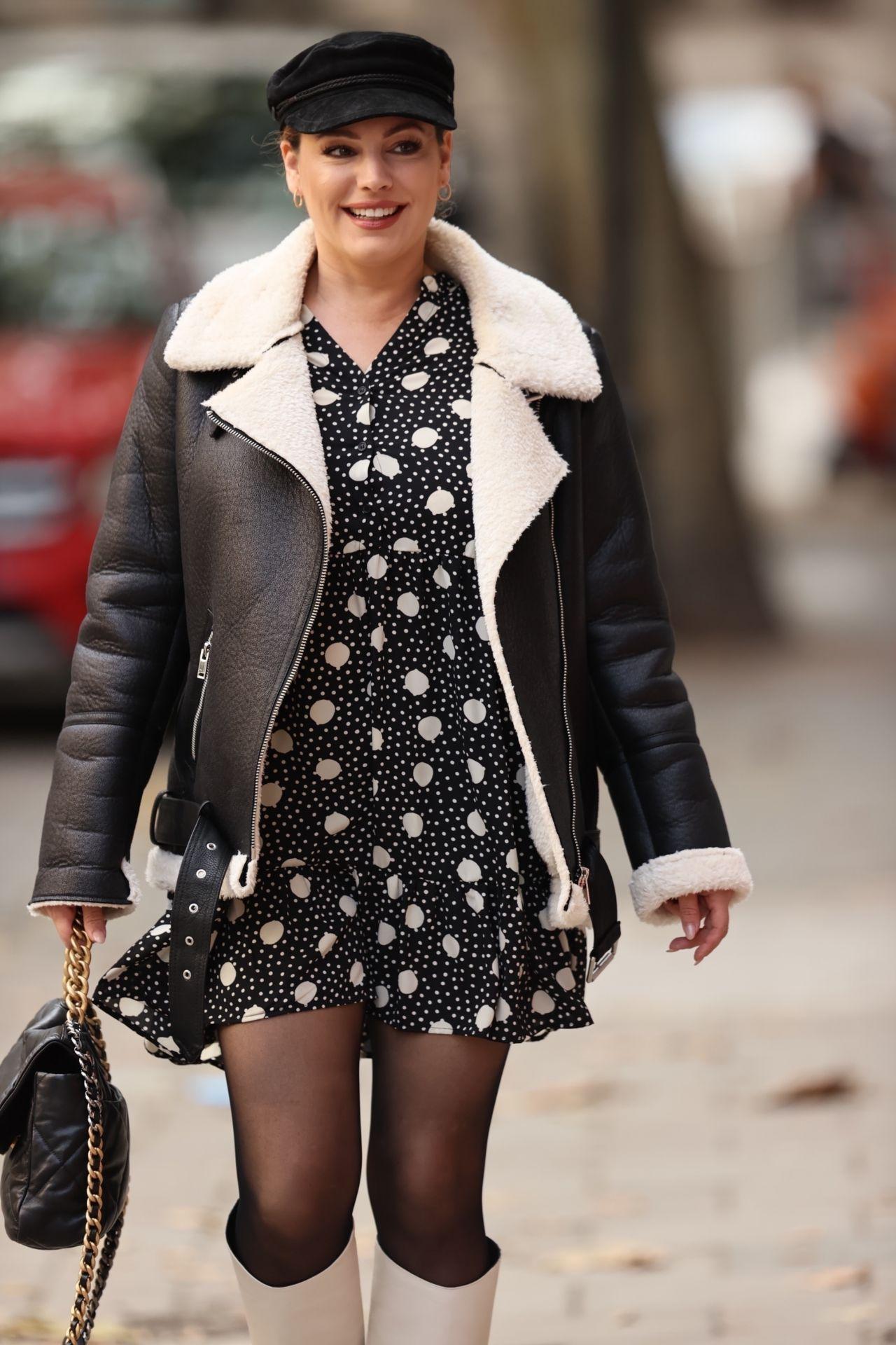 Kelly Brook in a Polka-Dot Mini Dress and Knee-High White ...