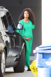 Kelly Rowland in a Green Dress - Leaving a Photoshoot in Brentwood 10/19/2020