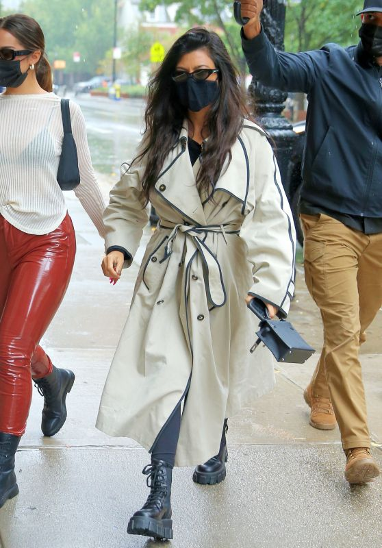 Kourtney Kardashian in a Trench Coat and Combat Bootsat - Greenwich Hotel in NY 10/12/2020