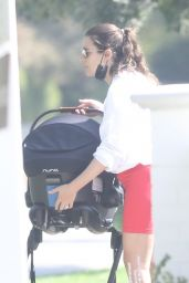 Lea Michele - Takes Her Baby Out for a Walk in Santa Monica 10/07/2020