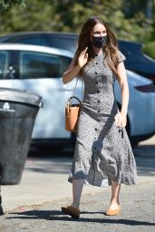Lily Collins in a Floral Print Dress and Mustard Yellow Flats - LA 10/02/2020