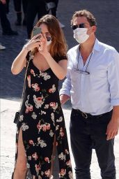 Lily James - Date Out in Rome 10/13/2020