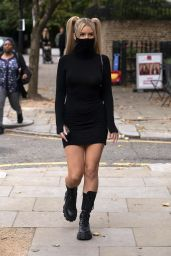 Lottie Moss in a Little Black Mask Dress - London 10/13/2020