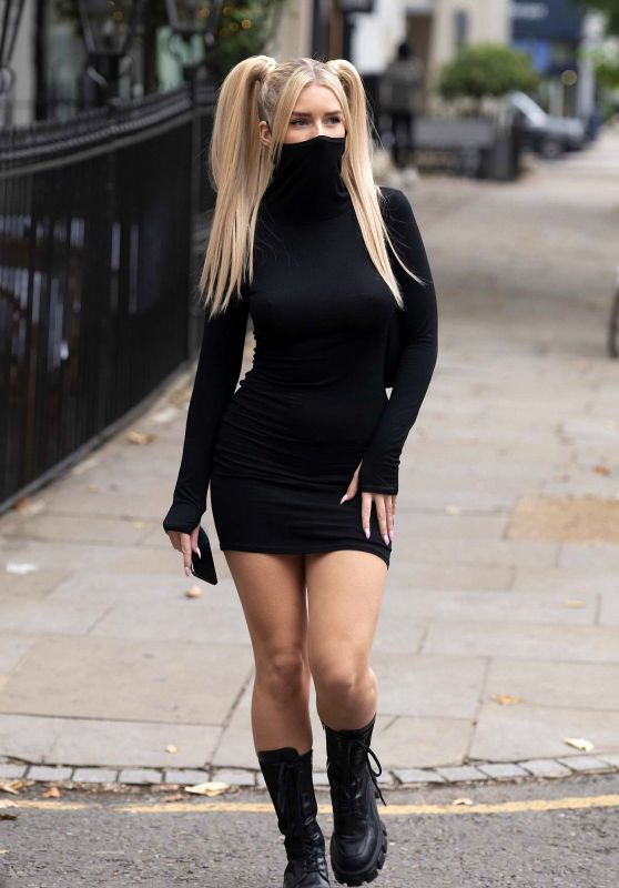 Lottie Moss in a Little Black Mask Dress - London 10/13/2020