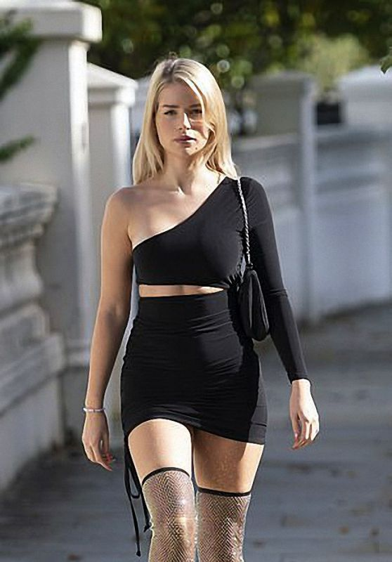 Lottie Moss in Black Cut-Out Short Dress - London 10/08/2020