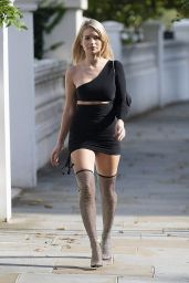 Lottie Moss in Black Cut-Out Short Dress - London 10/08/2020