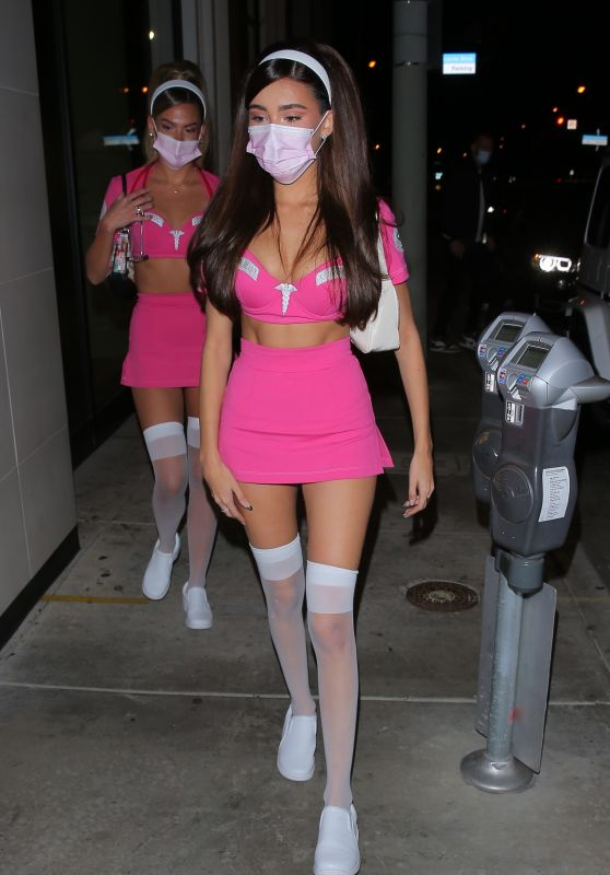 Madison Beer in a pink Trauma Halloween Costume at Catch in West Hollywood 10/30/2020