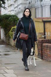 Michelle Dockery Autumn Street Style - Walking Her Dog in London 09/29/2020