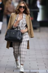 Myleene Klass in a Checked Suit and Camel Coat - London 10/07/2020