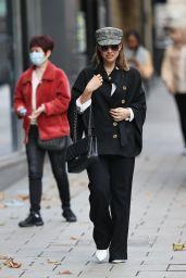 Myleene Klass in Black Outfit and Baker Boy Hat - London 10/08/2020