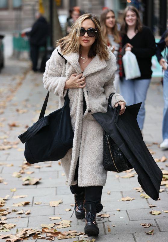 Myleene Klass in Wool Coat Out in London 10/20/2020