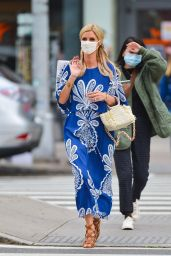 Nicky Hilton in an Ethereal Blue and White Maxi Dress and a Crocheted Purse - Shopping in NY 10/01/2020