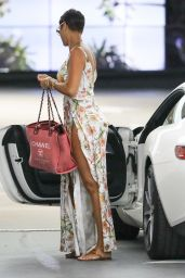 Nicole Murphy in a Floral Dress - Soho House in West Hollywood 10/28/2020