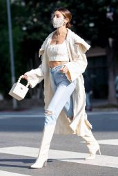 Nicole Williams in Ripped Jeans and Crop Top - LA 10/27/2020
