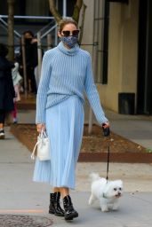 Olivia Palermo in a Pale Blue Turtleneck and Tulle Midi Skirt - NYC 10/24/2020