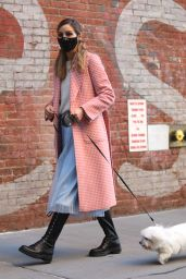 Olivia Palermo in a Pink Coat - Brooklyn 10/14/2020