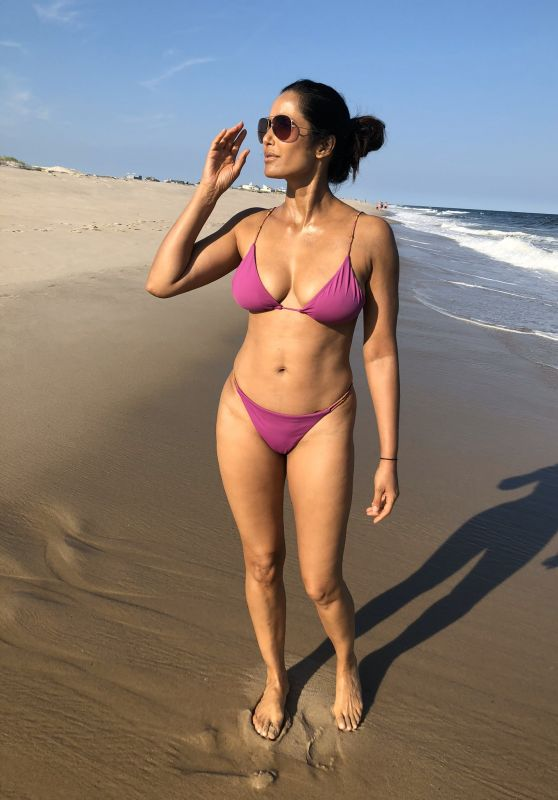 Padma Lakshmi in a Purple Bikini For Her 50th Birthday