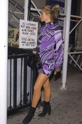 Paris Hilton in a Purple Mini Dress Out in NYC 10/29/2020