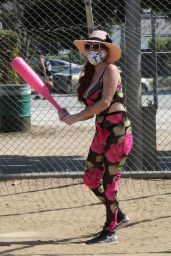 Phoebe Price With a Giant Pink Bat in LA 10/11/2020