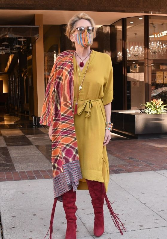 Sharon Stone in a Green Dress and Red Suede Boots - Beverly Hills 10/13/2020