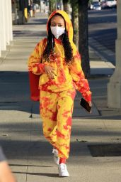 Skai Jackson in a Red and Yellow Hoodie and Sweat Pants at the DWTS Studio in LA 10/28/2020
