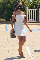 Skai Jackson in a White Mini Dress - Open Toe Stilettos in Malibu 07/29/2020